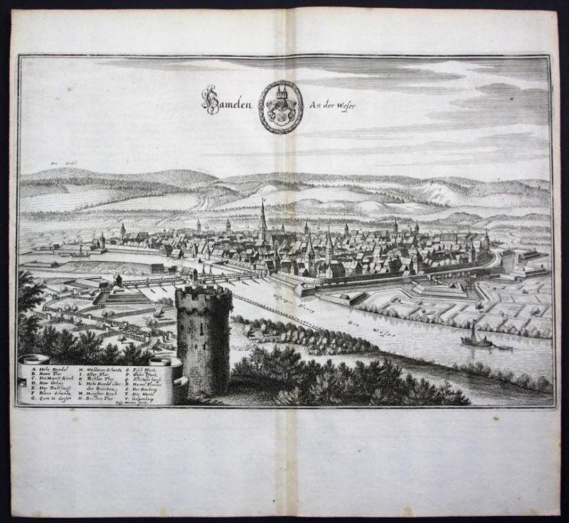 Hameln / Weser - Gesamtansicht - Karte Kupferstich Merian