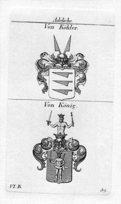 Von Köhler / Von König / Bayern - Wappen coat of arms Heraldik heraldry Kupferstich