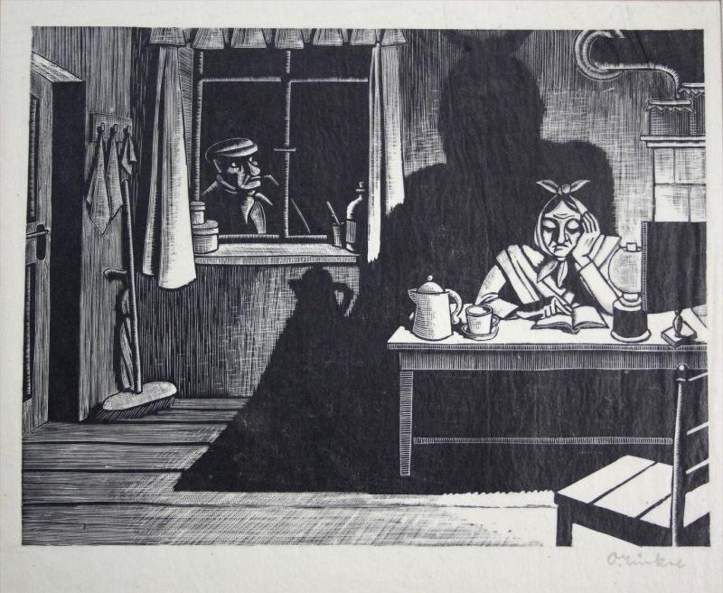 Der Mann am Fenster - Original Metallschnitt auf Japan - handschriftlich signiert  -- auf Original Papierpassepartout vo
