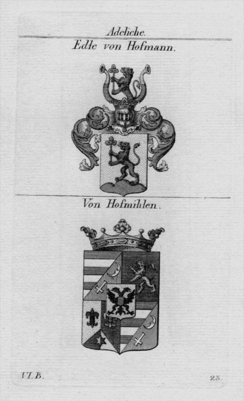 Hofmann Hofmihlen Wappen Adel coat of arms heraldry Kupferstich