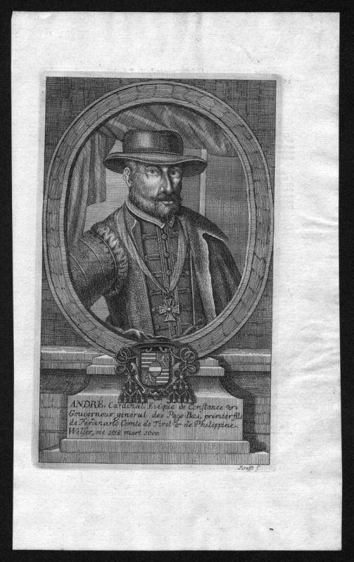 Andre Kardinal Gouverneur Holland Niederlande Kupferstich Portrait
