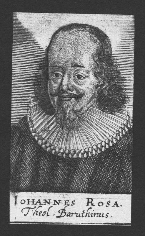 Johannes Rosa Theologe Professor Wittenberg Jena Kupferstich Portrait