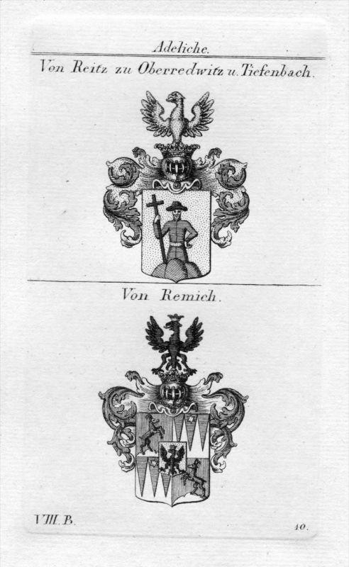 Reitz Oberredwitz Tiefenbach / Remich - Wappen Adel coat of arms heraldry Heraldik Kupferstich