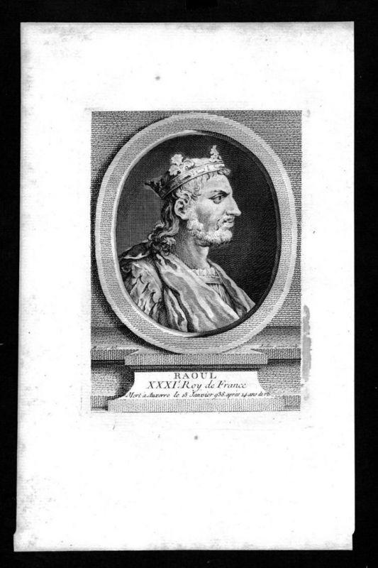 Raul von Burgund Raoul König Franken Karolinger Kupferstich Portrait