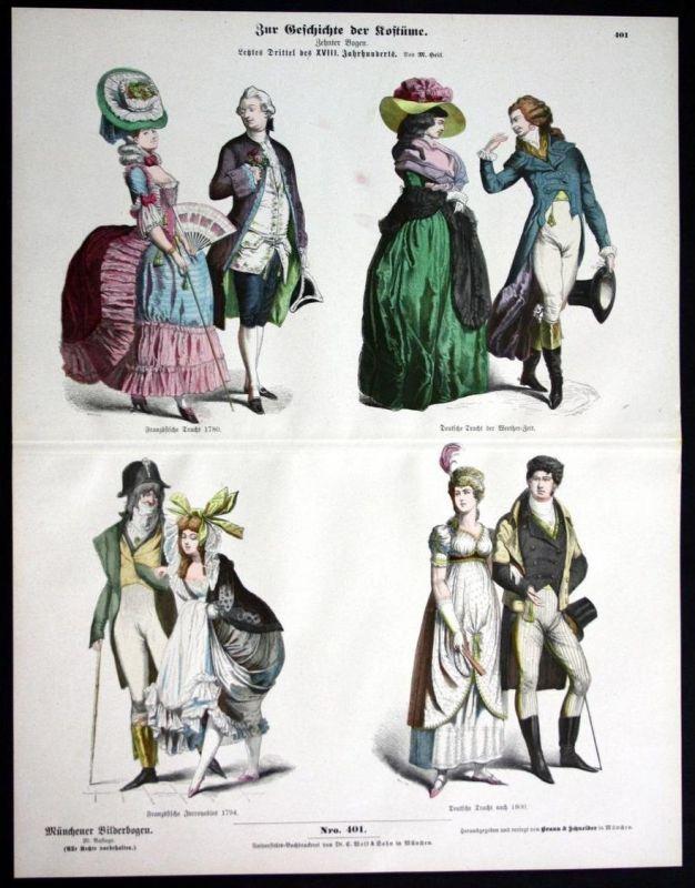 Frankreich Deutschland 18. Jh. Kostüme Tracht Münchener Bilderbogen