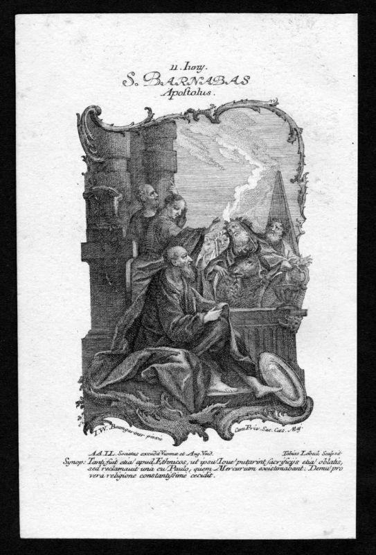 Barnabas 11. Juni june - Kupferstich Heiliger Heiligenbild Holy Card