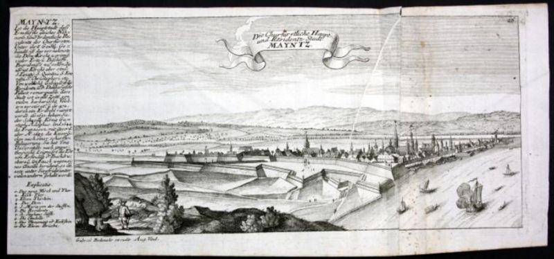 Mainz - Gesamtansicht - Panorama - Kupferstich Bodenehr