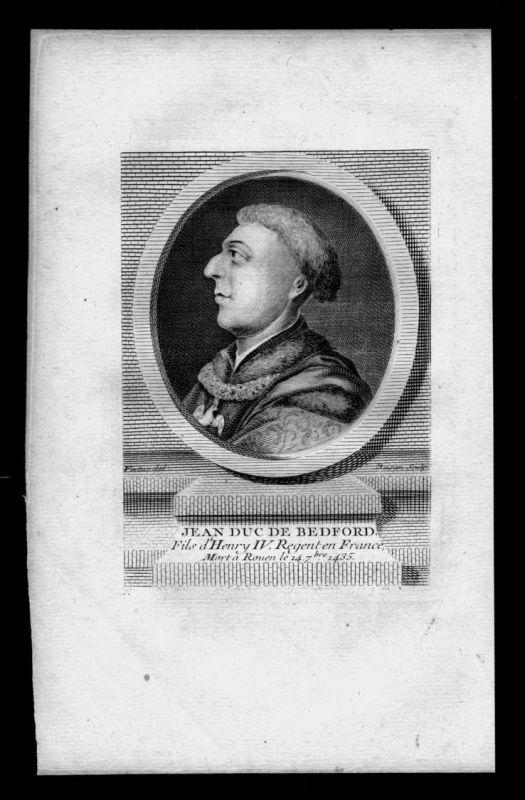 Jean de Lancastre Duc de Bedford England engraving Kupferstich Portrait