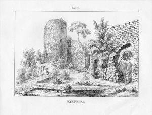Wartburg Burg Ruine Basel Basle Bale Schweiz Suisse Lithographie