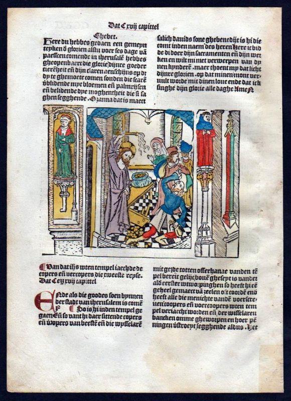 Blatt CCXV Inkunabel Vita Christi Zwolle Holzschnitt woodcut incunable Dutch