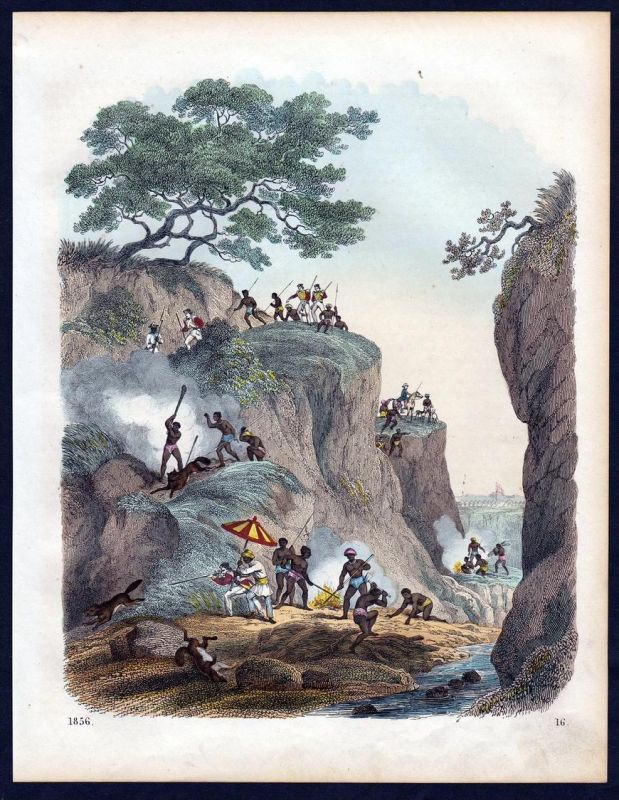 Wolfsjagd Indien India Wolf woolfe Jagd hunting Lithographie lithograph
