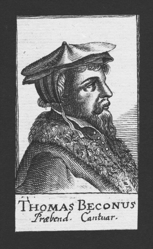 Thomas Beccon Theologe Reformator Norfolk England Kupferstich Portrait