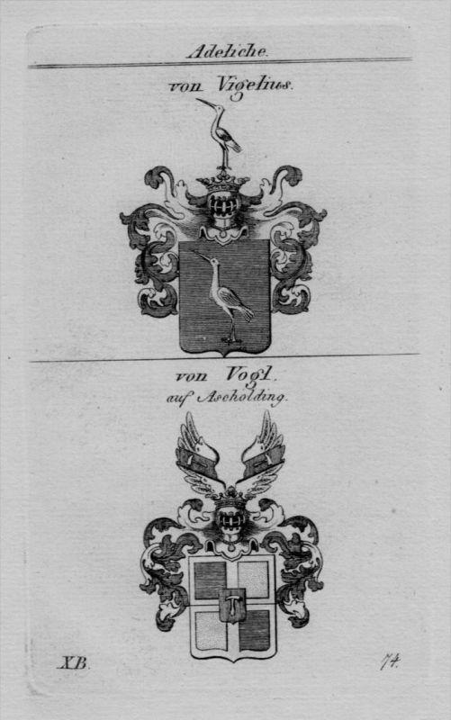 Vigelius Vogl Ascholding Wappen Adel coat of arms Heraldik Kupferstich