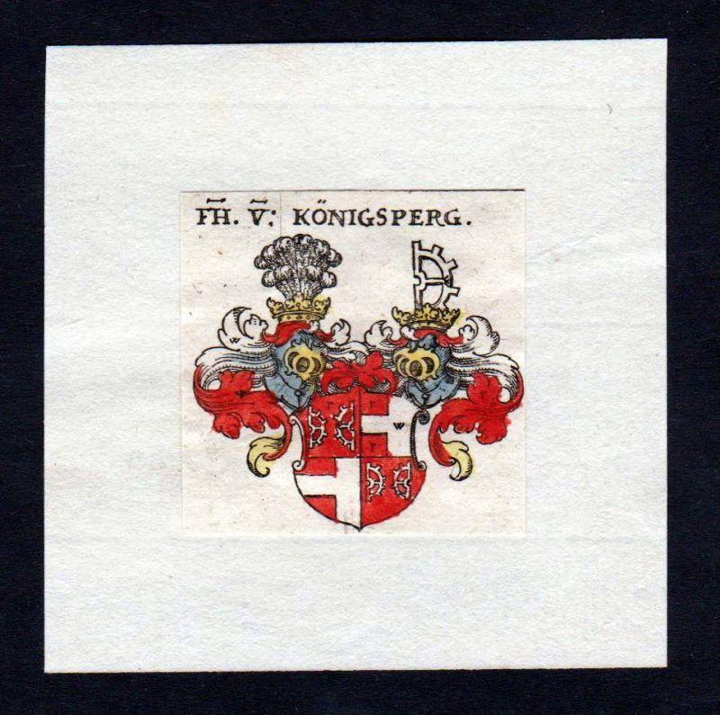 17. Jh von Königsberg Wappen Adel coat of arms heraldry Heraldik Kupferstich