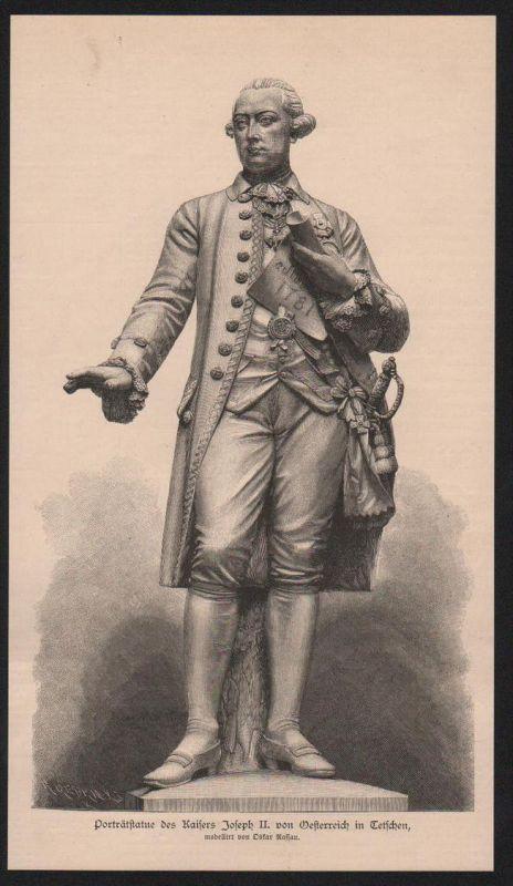 Joseph II Kaiser Österreich König Böhmen Ungarn Holzstich Portrait