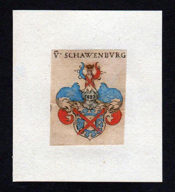17. Jh von Schauenburg Wappen coat of arms heraldry Heraldik Kupferstich