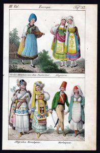 Österreich Pustertal Maurowalachen Trachten Lithographie antique print
