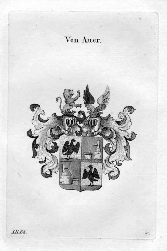 von Auer Adel Wappen coat of arms heraldry Heraldik Kupferstich
