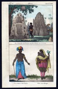 - Guinea Congo costumes people Africa handcolored litho antique print