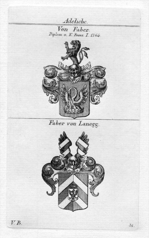 Faber - Wappen Adel coat of arms heraldry Heraldik Kupferstich