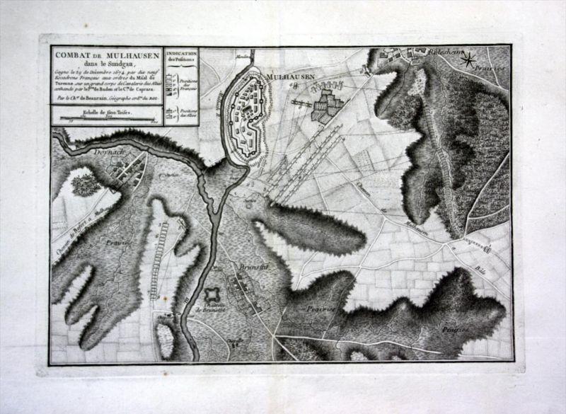 Combat de Mulhouse Elsass Alsace gravure Kupferstich Karte map