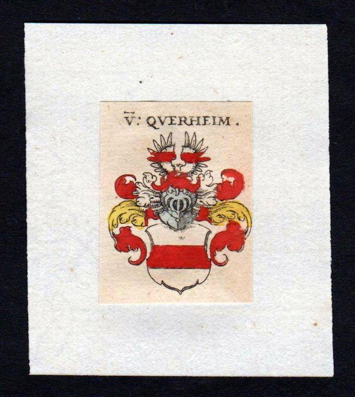 17. Jh von Querheim Wappen coat of arms heraldry Heraldik Kupferstich