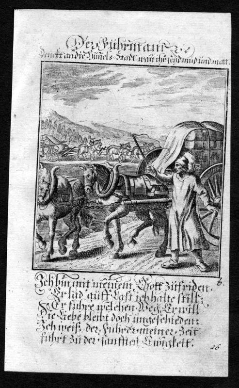 Fuhrmann Kutscher carter Beruf profession Weigel Kupferstich antique print