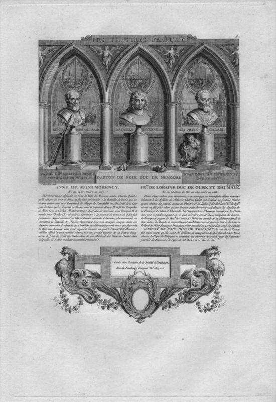 Anne de Montmorency Francois de Lorraine engraving gravure portrait