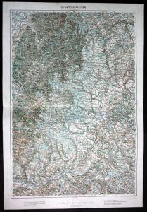 Schiltach / Neustadt / Furtwangen / Donaueschingen / Schaffhausen - alte Landkarte 1913