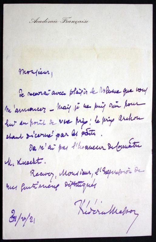autograph letter with signature / eigenhändiger Brief mit Unterschrift vom 31.10.1921