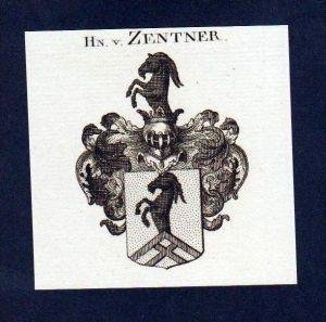 Herren von Zentner Original Kupferstich Wappen engraving Heraldik crest
