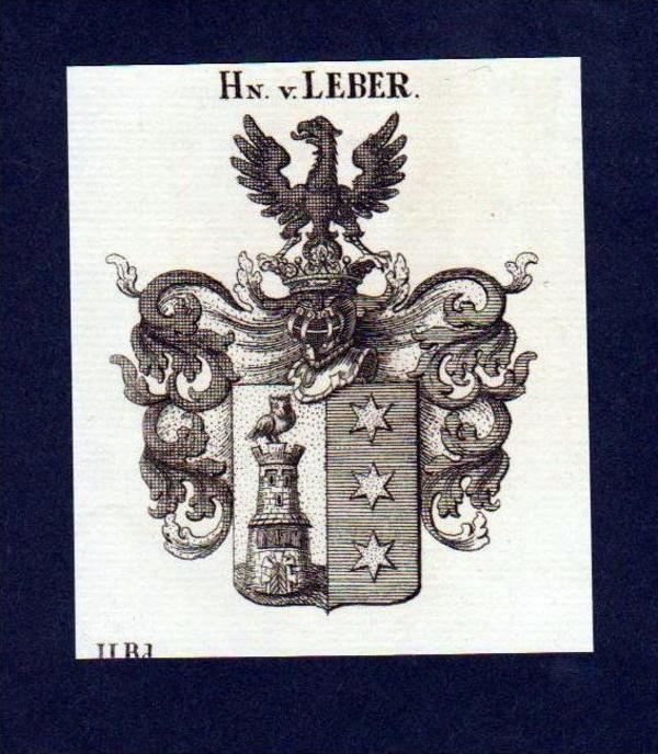 Herren von Leber Original Kupferstich Wappen engraving Heraldik crest