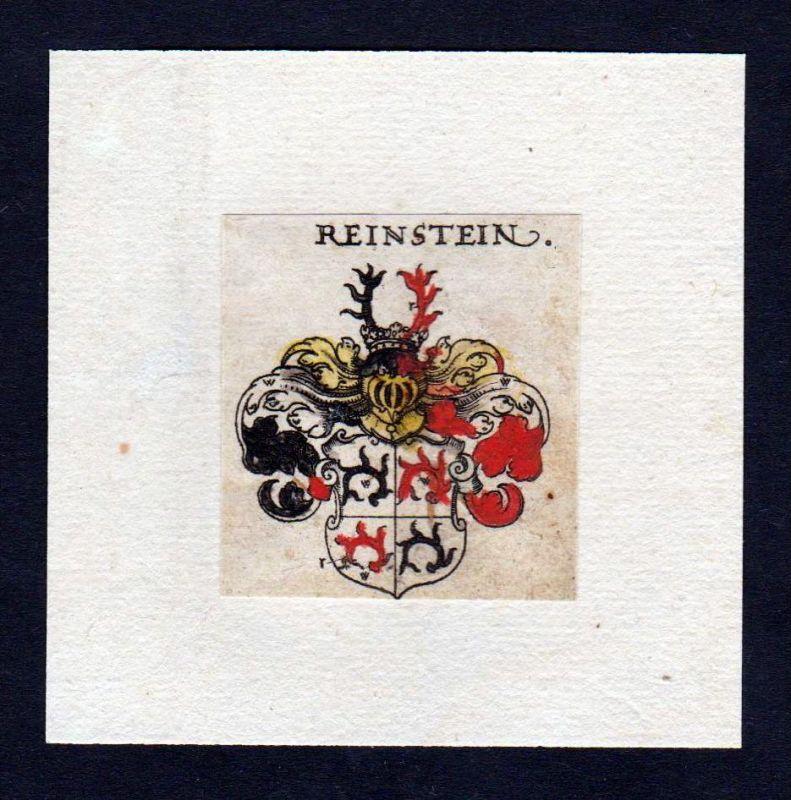 17. Jh Reinstein Wappen Adel coat of arms heraldry Heraldik Kupferstich