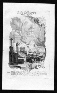Severin von Köln 23. Oktober - Kupferstich Heiliger Heiligenbild Holy Card