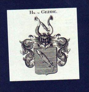 Herren von Gedde Original Kupferstich Wappen engraving Heraldik crest