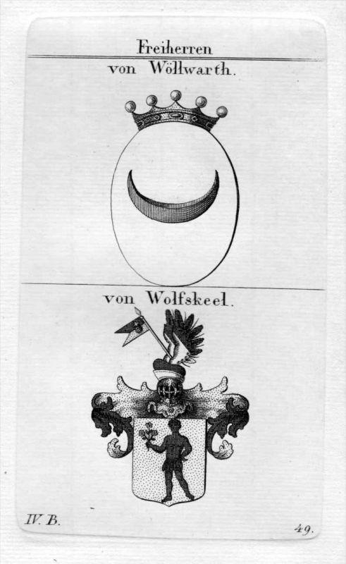 Woellwarth Wolffskeel - Wappen Adel coat of arms heraldry Heraldik Kupferstich
