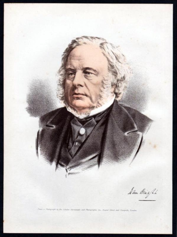 John Bright (1811-1889) Politiker - Lithographie Portrait