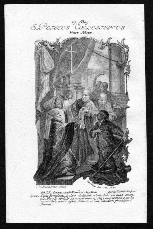 Coelestin V. Papst 19. Mai may - Kupferstich Heiliger Heiligenbild Holy Card