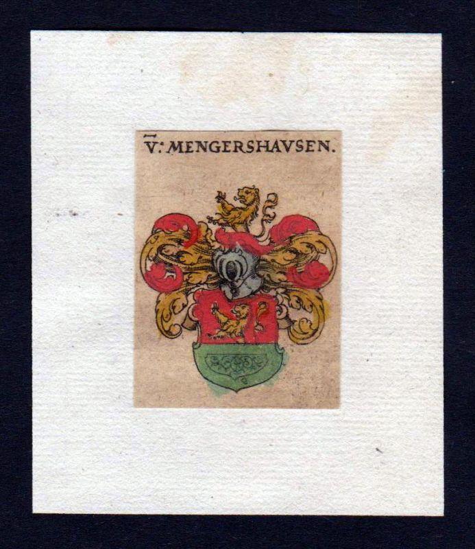 Mengershausen 17. Jh Wappen coat of arms heraldry Heraldik Kupferstich