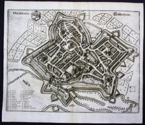 Hildesheim / Stadtplan - Gesamtansicht - Karte Kupferstich Merian