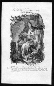 Wilfrid von York 12. Oktober - Kupferstich Heiliger Heiligenbild Holy Card