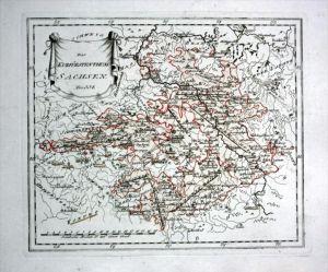 Kurfürstentum Sachsen Leipzig Dresden - Reilly Karte map