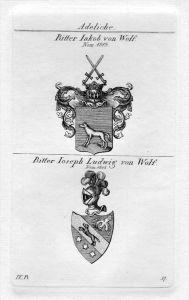 Ritter von Wolf - Wappen Adel coat of arms heraldry Heraldik Kupferstich