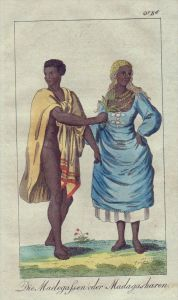 Madagaskar Einwohner Trachten Tracht costumes engraving Kupferstich