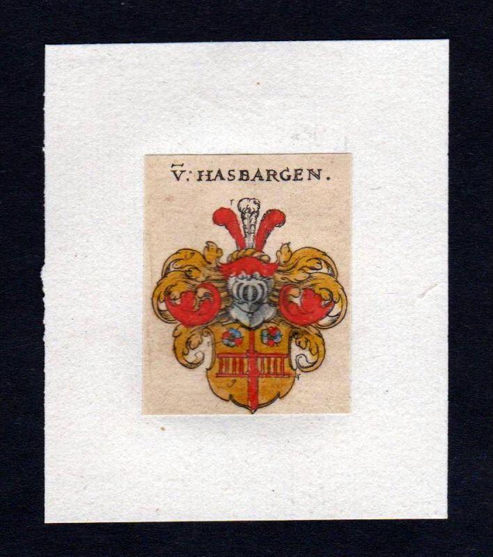 17. Jh von Hasbergen Wappen coat of arms heraldry Heraldik Kupferstich