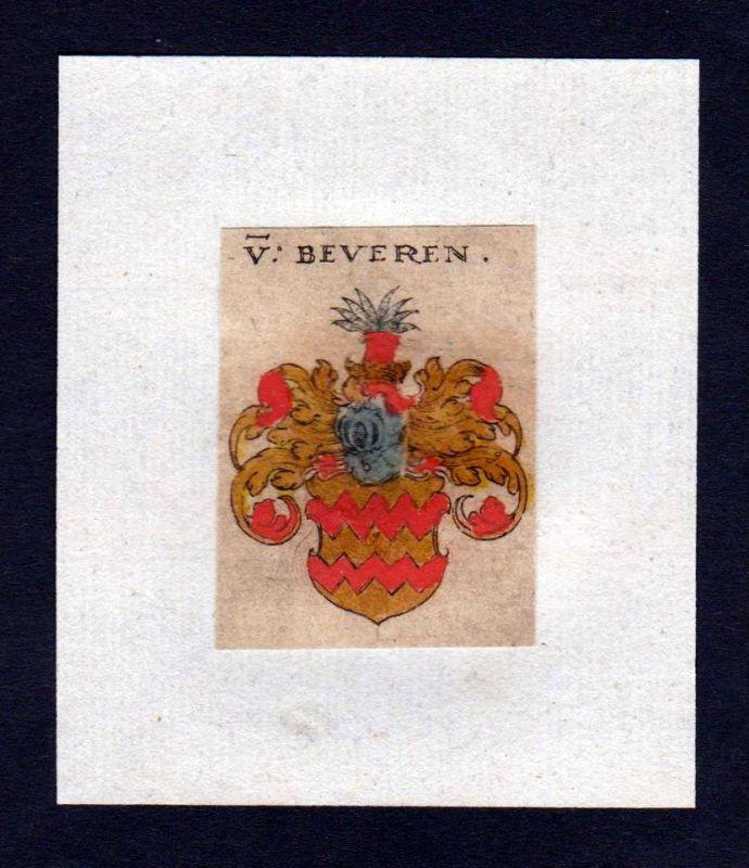 17. Jh von Beveren Wappen coat of arms heraldry Heraldik Kupferstich