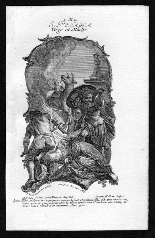Pelagia von Tarsus - 4. Mai may Kupferstich Heiliger Heiligenbild Holy Card