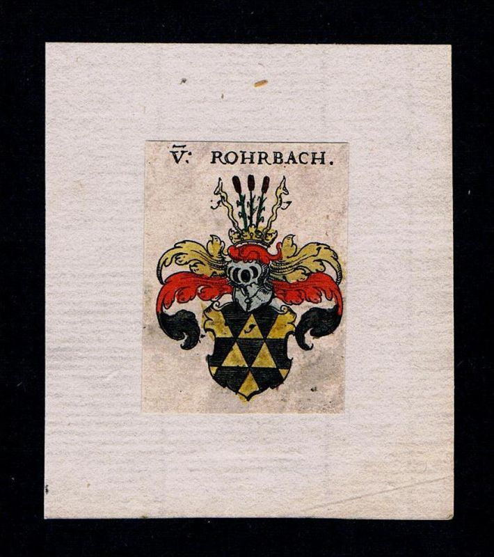 . - von Rohrbach Wappen Adel coat of arms heraldry Heraldik Kupferstich