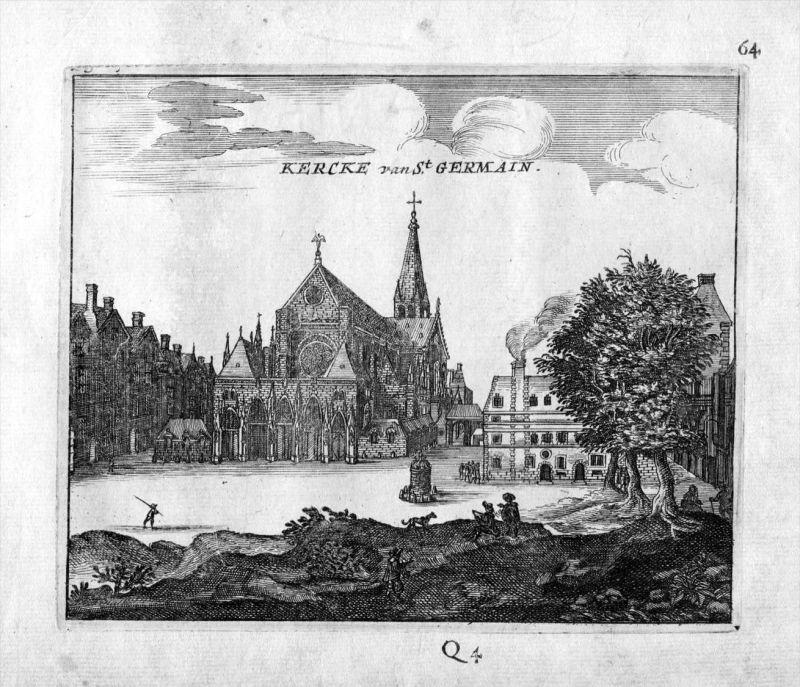 Saint Germain des Pres Kirche Paris Frankreich France gravure estampe Kupferstich