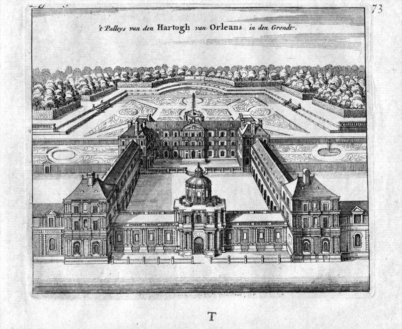 Palais Herzog Orleans Paris France Frankreich estampe gravure Kupferstich